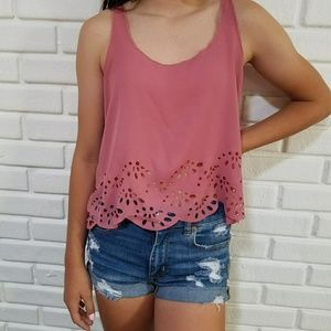 Brandy Melville Pink Eyelet Cut Out Tank